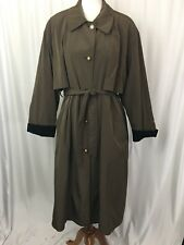 Vintage Misty Harbor Womens Trenchcoat 18WP Army Green Belt Zip Out Liner Plus