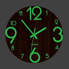 12'' Green Luminous 3D Wall Clock Creative Hanging Wood Silent Clock Home Decor
