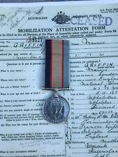 WW2 AUST SERVICE MEDAL. WW1 VET DROWNED NEW GUINEA 1942