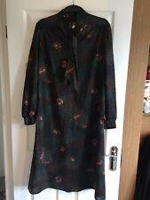 Black Long Sleeve Vintage Retro Tea Dress Plus Size 16 Pussy Bow Neck Tie