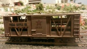 Scratch Built Vintage HO Old Time Truss Rod Stock Car  Texas Cattle Co.. Exc.