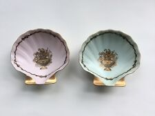 Hers & His 2 Plates Vanity Pin Bowls Fine Gold Painted Porcelain Shell Shaped