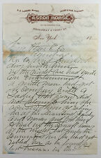 Antique Astor House NY Letterhead Woman Accuses Man of Theft 1880s or 1890s