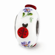 Sterling Silver Reflection White Hand Painted Lady Bugs Fenton Glass Bead