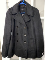 Calvin Klein Pea Coat Wool Blend Double Breasted Button Down Womens Size 2 Black