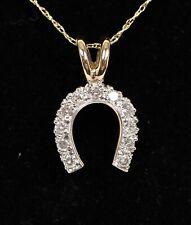 "Lovely 10K Yellow Gold 1/4ct Diamond Lucky Horseshoe Pendant Necklace 18.75"""