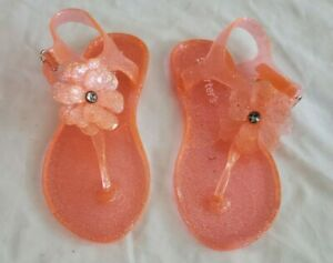 New Carter's Girls Toddlers Selena Jelly T-Strap Sandals Size 12 Orange Clear