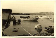 Bord de mer barques bateaux - photo ancienne an. 1950