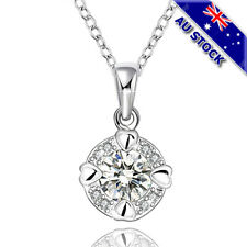 Sterling Silver Filled Clear Cubic Zirconia Crystal Pendant Chain Necklace