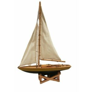 Vintage Ship large Model Wood Pond Yacht Model Cloth Sail Boat Removable Stand