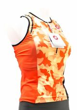 Castelli Women Core Sleeveless Zip Triathlon Race Singlet Large Orange Floral