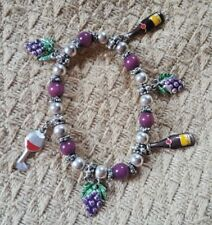 WINE LOVERS Stretch Bracelet w/ Wine Bottle, Grape and Wine Glass Charms
