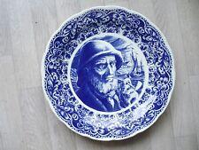 Assiette décorative ancienne BOCH La Louvière DELFTS - 39 cm diamètre