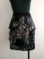 Portmans black Blue Peplum Skirt high waisted AU 6 XS