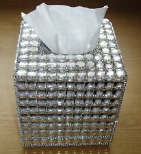 Bling Silver Square Diamante Diamond Crystal Tissue Paper Case Box Holder Gift