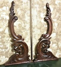 Scroll leaf wood carving corbel bracket antique french architectural salvage