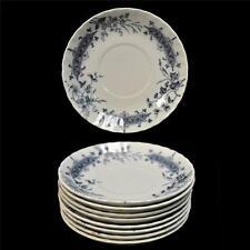 8 Vintage W H Grindley England Athena Ironstone  Flow Blue Floral Saucers
