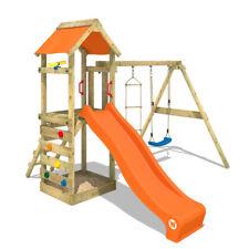 WICKEY Stelzenhaus Spielturm FreeFlyer mit Schaukel, oranger Rutsche & Plane