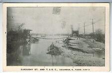 OHIO Columbus FLOOD of March 25 1913 SANDUSKY ST. & T. & O.C. Vintage Photo PC