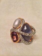 New ALEXIS BITTAR Purple Quartz Maldivian Crystal Encrusted Ring - Size 7 / 8