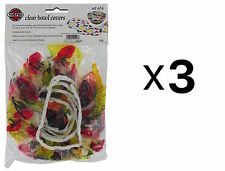 Norpro BOWL COVER/SAVER Reusable 6 Piece Elastic Clear Fruit Pattern (3-Pack)