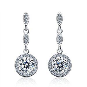 925 Sterling Silver Cubic Zirconia Fashion Drop Earrings   Free Fast Shipping