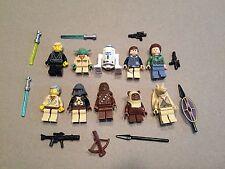 LEGO lot of 10 Star Wars Good Guy Minifigs Yoda Luke Leia Han R2-D2 Chewie H377