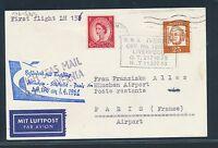 61190) LH FF München - Stuttgart - Paris 1.4.62, Karte Britische Schiffspost