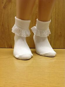 6 PAIR GIRLS WHITE TURN OVER TOP ANKLE SOCKS Frilly Lace Trim.      BUY BRITISH