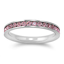 Stackable Eternity Promise Ring 3MM - PINK CZ - Stainless Steel - Sizes 3 to 10