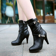 Womens Ladies Zip Buckles High Heel Mid Calf Boots Shoes UK Size 1--12 A512