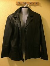 Preston & York Black Leather Women's Jacket Size Medium