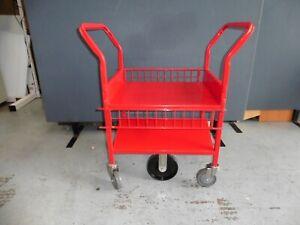 OFFICE RED STEEL HEAVY DUTY TROLLEY 6 X WHEELS BRISBANE