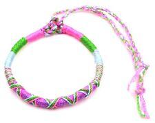 Bracelet Brésilien Amitié Macramé Coton Vœu porte Bonheur  rose violet  vert