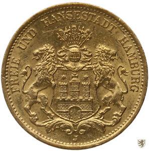 HAMBURG, Stadtwappen, 20 Mark, 1878 J, Jg. 210, sehr schön+