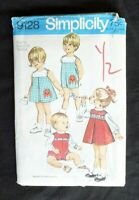 Vintage Simplicity Pattern #9128 Toddler's Dress/Jumper/Blouse/Overalls Size 1/2