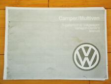 Volkswagen Vanagon Westfalia Camper/Multivan Supplemental Manual Xerox Copy