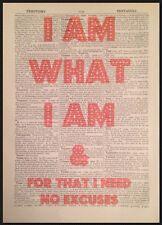'I Am What I Am' Gloria Gaynor Lyrics Vintage Dictionary Wall Art Print Picture
