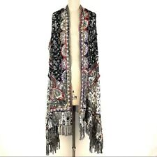 Soft Surroundings Women's One Size Black and White Floral Paisley Sleeveless Top