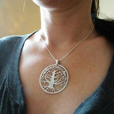 Tree of Life Necklace - 925 Sterling Silver - Large Pendant Family Filigree SN