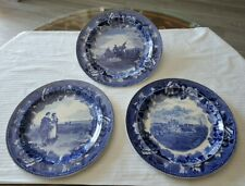 3 Blue Antique Wedgwood Plates:G. Washington;Mayflower Return;Boston State House