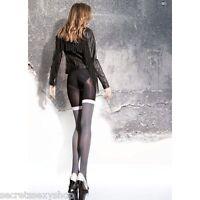 collant donna fiore 40 den Maloria effetto autoreggente white black calze sexy