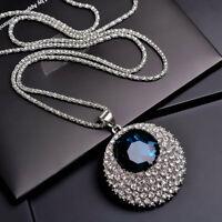 Damen Halskette Schmuck Collier mit Anhänger Luxus Silber lang Vintage Kette