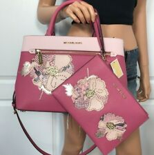 NWT Michael Kors Pink Tulip Satchel Floral Medium Leather Bag Purse + Wallet