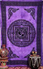 Om Tapestry Wall Hanging Cotton Hippie Decor Mandala Yoga Purple USA Seller