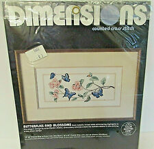 VTG 1986 Dimensions Counted Cross Stitch Kit Butterflies and Blossoms