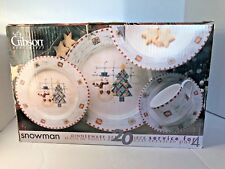 Gibson SNOWMAN Christmas Winter Dinnerware Set Service for Four NEW IN BOX
