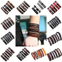 Fashion Men Ethnic Multi-layer Leather Wrap Wristband Braided Cuff Punk Bracelet