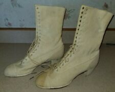 Antique Victorian Edwardian White Womens High Top Lace Up Boots Shoes Canvas