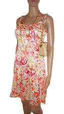 BCBG MAXAZRIA Womens Floral Print Evening Party Satin Casual Dress sz M AE74
